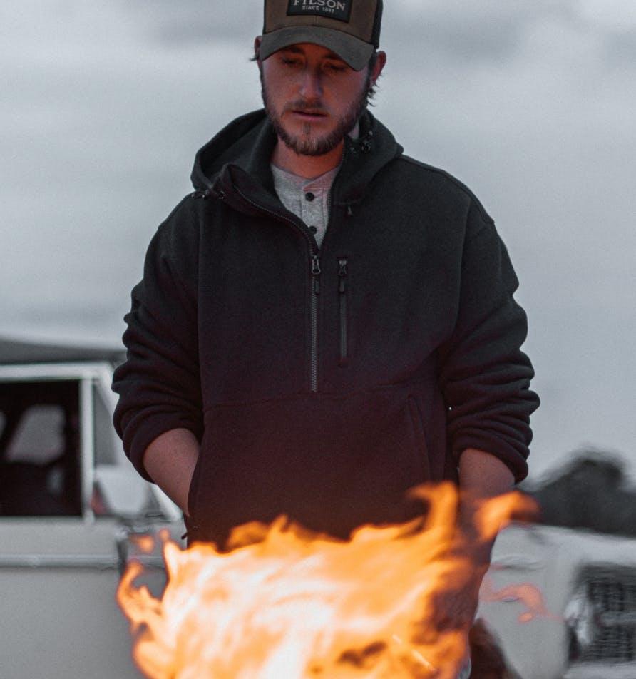 Man wearing a filson hoodie
