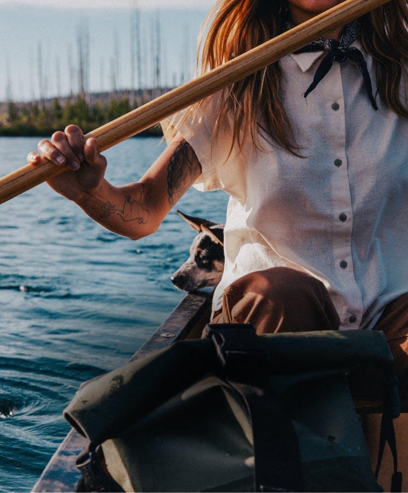 Woman wearing a filson shirt