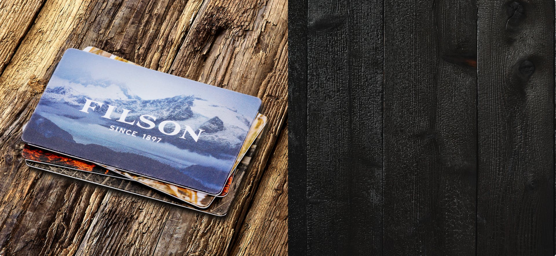 Woman wearing Filson gear with mountains in the backdrop